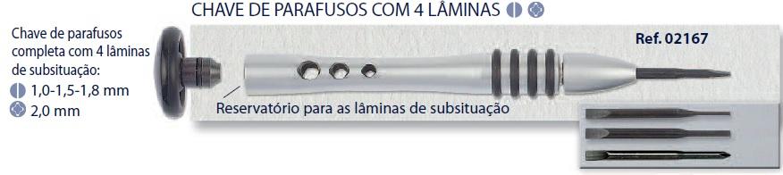 0202167 - Chave 02 Lâminas 1,0/1,5/1,8/PH2,0mm Mod 2167  -Contém 1 Peça