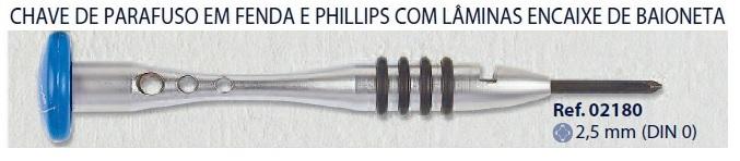0202180 - Chave 02 Phillips 2,5mm Mod 2180  -Contém 1 Peça