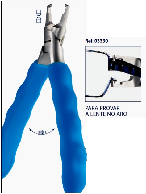 0203330 - Alicate 02 Prova-Lente Oculos Metal Mod 3330  -Contém 1 Peça