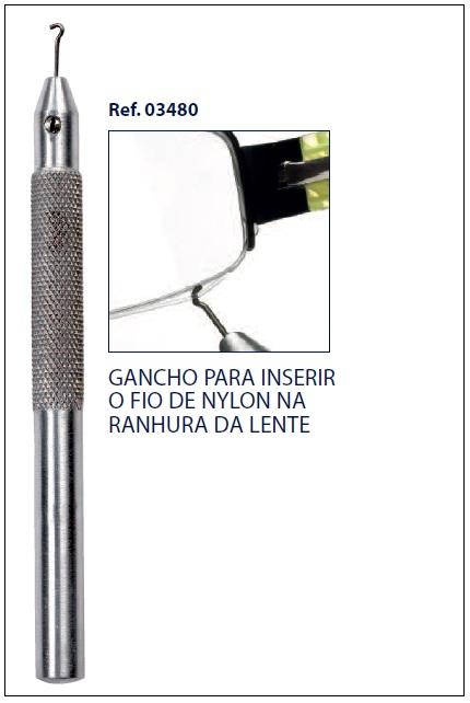 0203480 - Gancho 02 Insere Fio Nylon Lente Mod 3480  -Contém 1 Peça