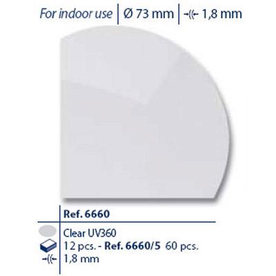 0206660 - Lente CR39 B6 Incolor Mod 6660 FLAG E  -Contém 12 Peças