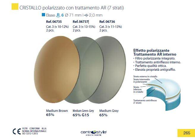 0206736 - Lente Cristal B6 Polarizada+AR Cinza 65% Mod 6736 FLAG E  -Contém 2 Peças