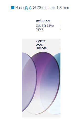 0206771 - Lente CR39 B6 Degradê Violeta 25% Mod 6771 FLAG E - Contém 6 Peças SOB ENCOMENDA