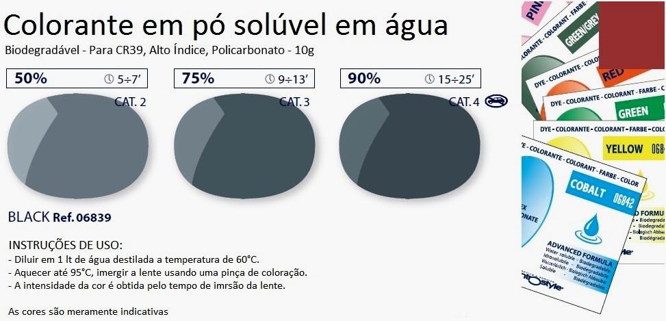0206839 - Colorante Pó Biodegradavel Preto Mod 6839 FLAG E - Contém 1 Pacote SOB ENCOMENDA