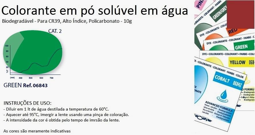 0206843 - Colorante Pó Biodegradavel Verde Mod 6843 FLAG E - Contém 1 Pacote SOB ENCOMENDA