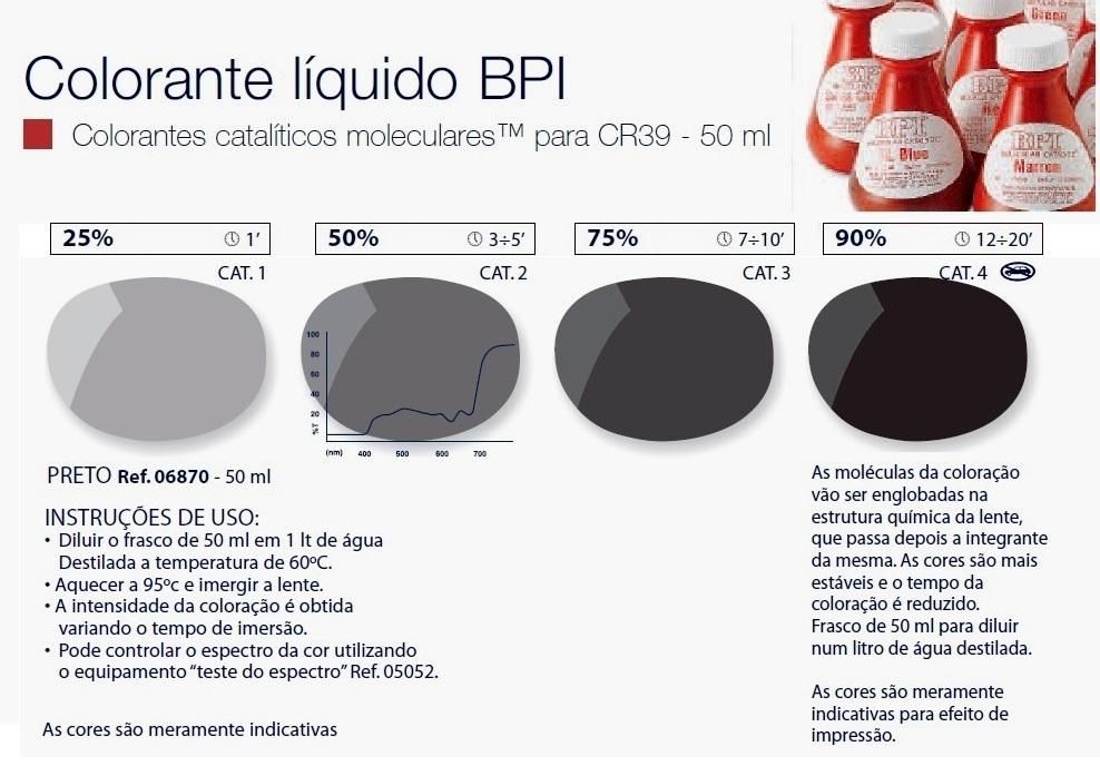 0206870-Colorante Líquido BPI Preto Mod 6870 FLAG E - Contém 50 Ml  - ENTREGA IMEDIATA