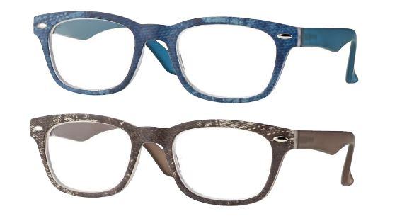 0260726 - Óculos Leitura OPOR Jeans Azul+Jeans Marrom +2,50 Mod 60726E FLAG 9  -Contém 2 Peças