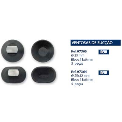 0207363 - Ventosa Briot D=23mm/Bloco 11x6mm Mod 7363 FLAG 9 - Contém 5 Peças