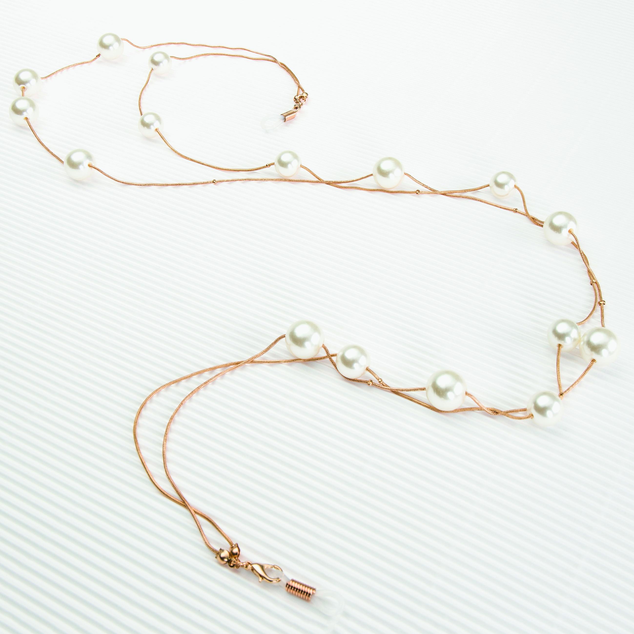 0210124-Corrente Ouro com Pérolas C/Estojo Microfibra - Contém 1 Peça  - SOB ENCOMENDA