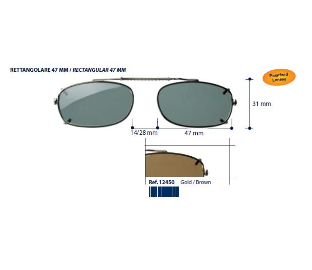 0212450 - Clip-On Metal Fixo Retangular 47 Ouro/Marrom Mod 12450 FLAG 9  -Contém 1 Peça