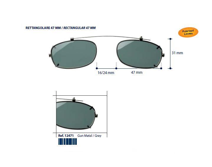 0212471 - Clip-On Metal Fixo Retang 47 GunMetal/Cinza Mod 12471 FLAG 9 - Contém 1 Peça