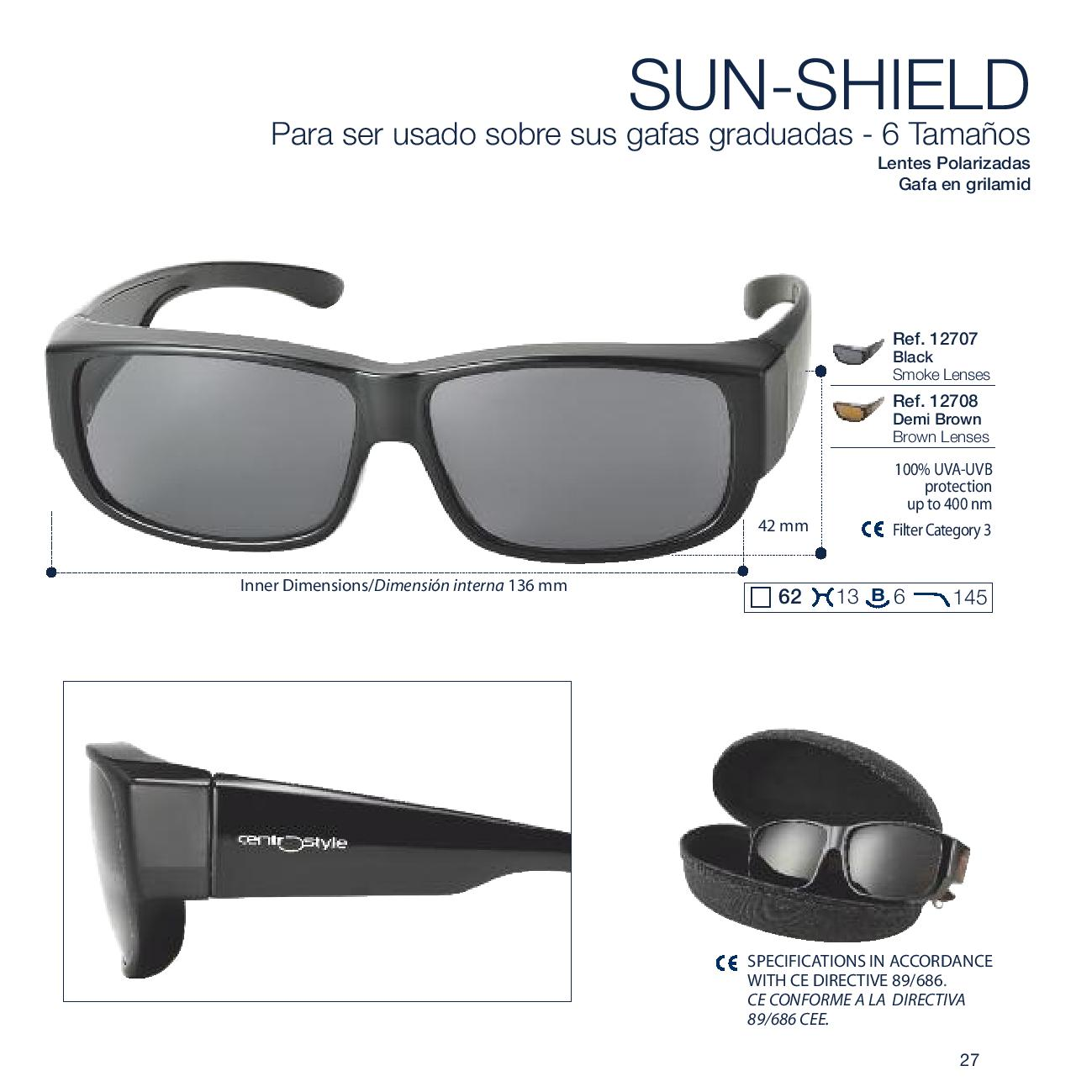 0212707 - Óculos-Solar CS Sobrepor 62 Preto/Cinza Mod 12707 FLAG E - Contém 1 Peça SOB ENCOMENDA