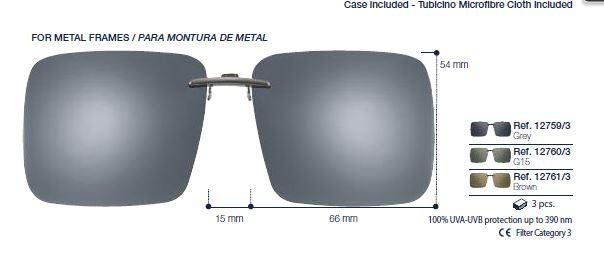 0212759 - Clip-On p/Metal Qddo  66 Preto/Cinza Mod 12759 FLAG E - Contém 1 Peça SOB ENCOMENDA