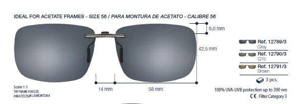 0212790 - Clip-On p/Acetato Retang 56 Preto/G15 Mod 12790 FLAG E - Contém 1 Peça SOB ENCOMENDA