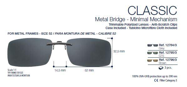 0212795 - Clip-On 02 p/Metal Retangular 53 Preto/G15 Mod 12795  -Contém 1 Peça