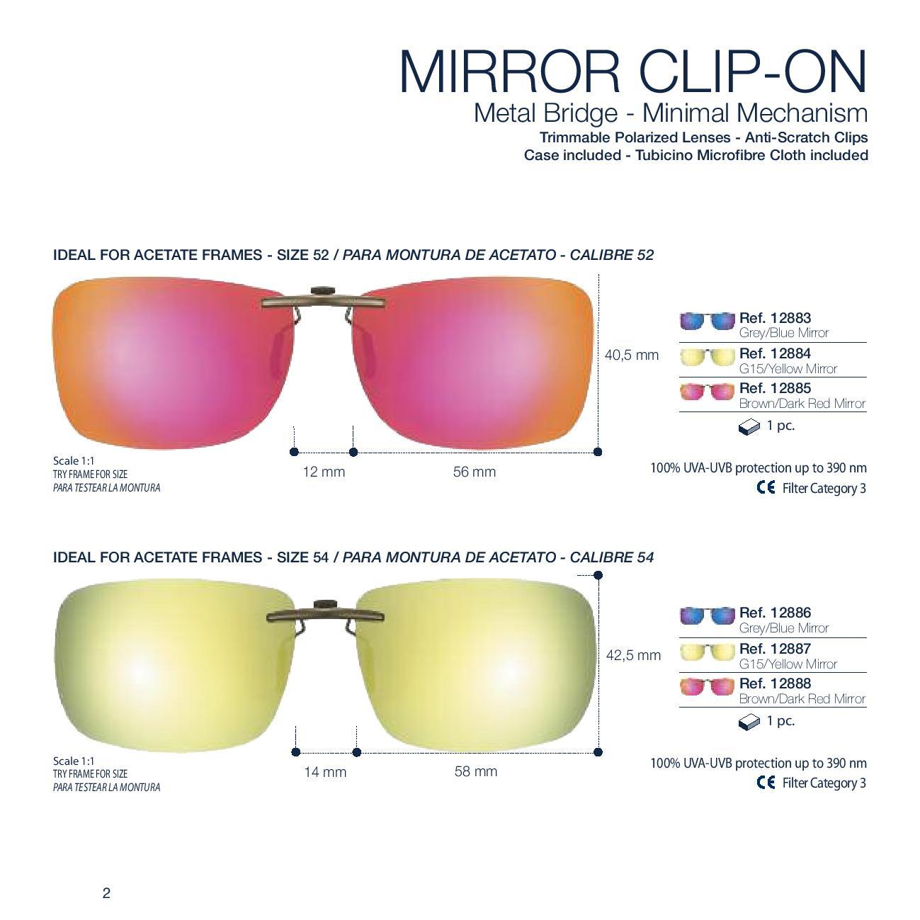 0212887 - Clip-On p/Acetato Retang 54 Amarelo Espelhado Mod 12887 FLAG 9 - Contém 1 Peça