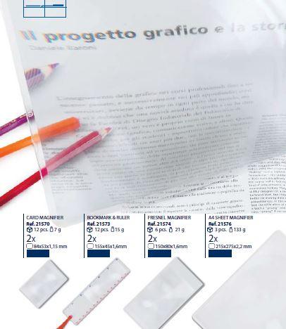 0221576 - Lupa Leitura 2,0x Fresnel 215x275mm Mod 21576 FLAG E - Contém 3 Peças SOB ENCOMENDA