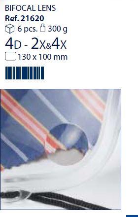 0221620 - Lupa Croche 2,0x+4,0x 130x100mm Mod 21620 FLAG E - Contém 6 Peças SOB ENCOMENDA