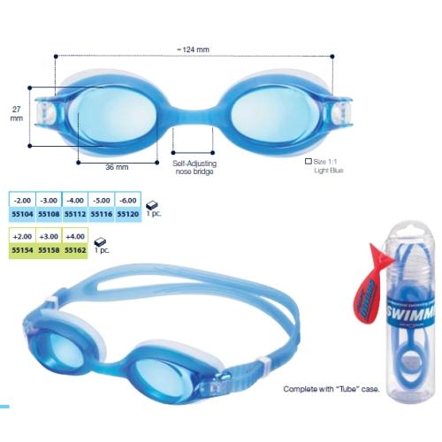 0255158 - Óculos Natação Swimmi Soft Jr +3,00 Mod 55158  -Contém 1 Peça