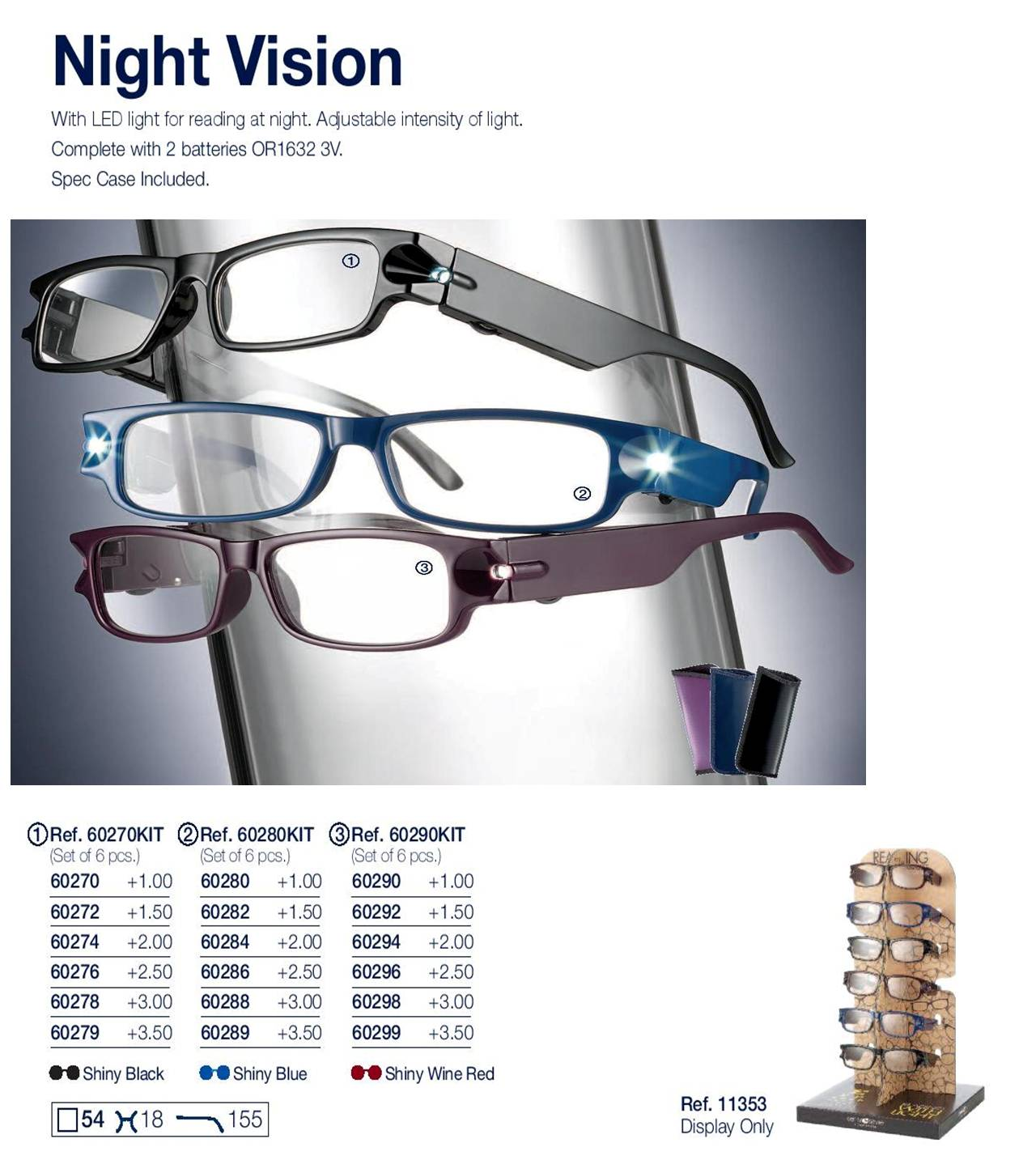 0260279 - Óculos Leitura Night Vision Preto +3,50 Mod 60279 FLAG 9 - Contém 1 Peça