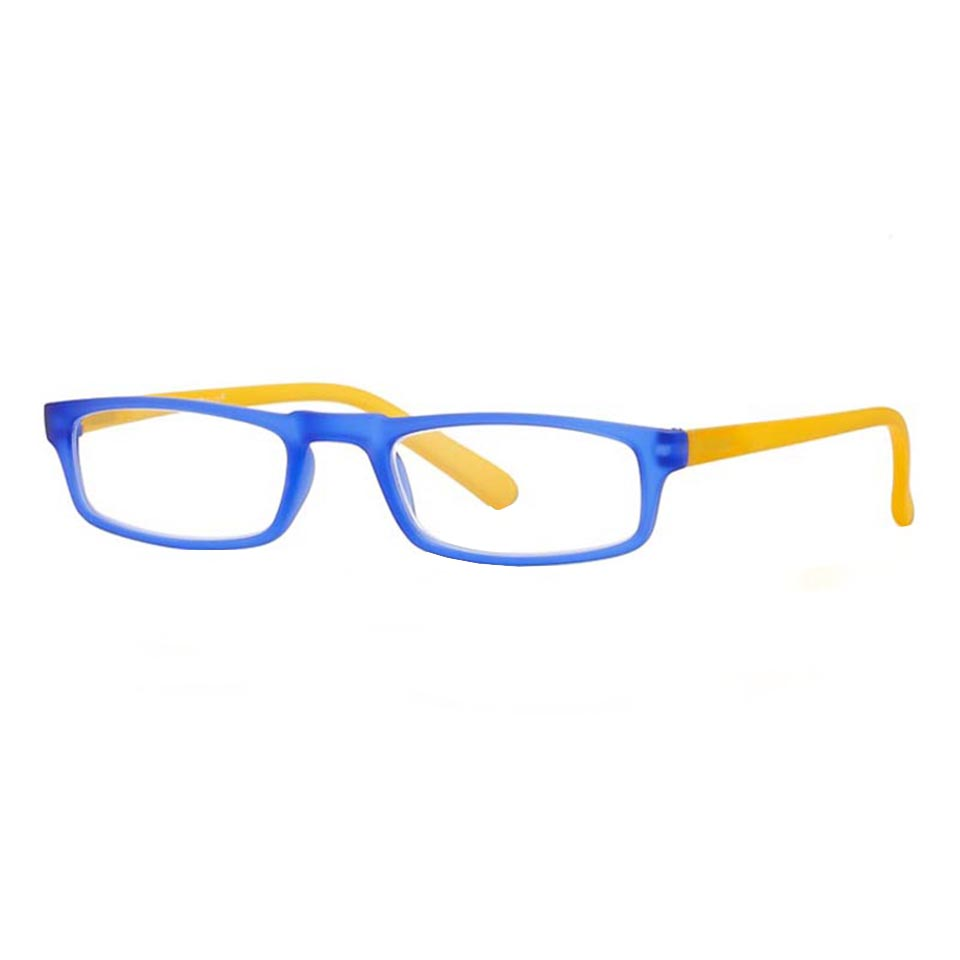 0261039 - Óculos Leitura Soft Touch Azul/Amarelo +3,50 Mod 61039  -Contém 1 Peça