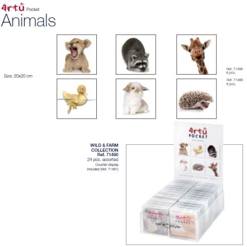 0271488 - Microfibra Artu Pocket Farm Animals Mod 71488  -Contém 6 Peças