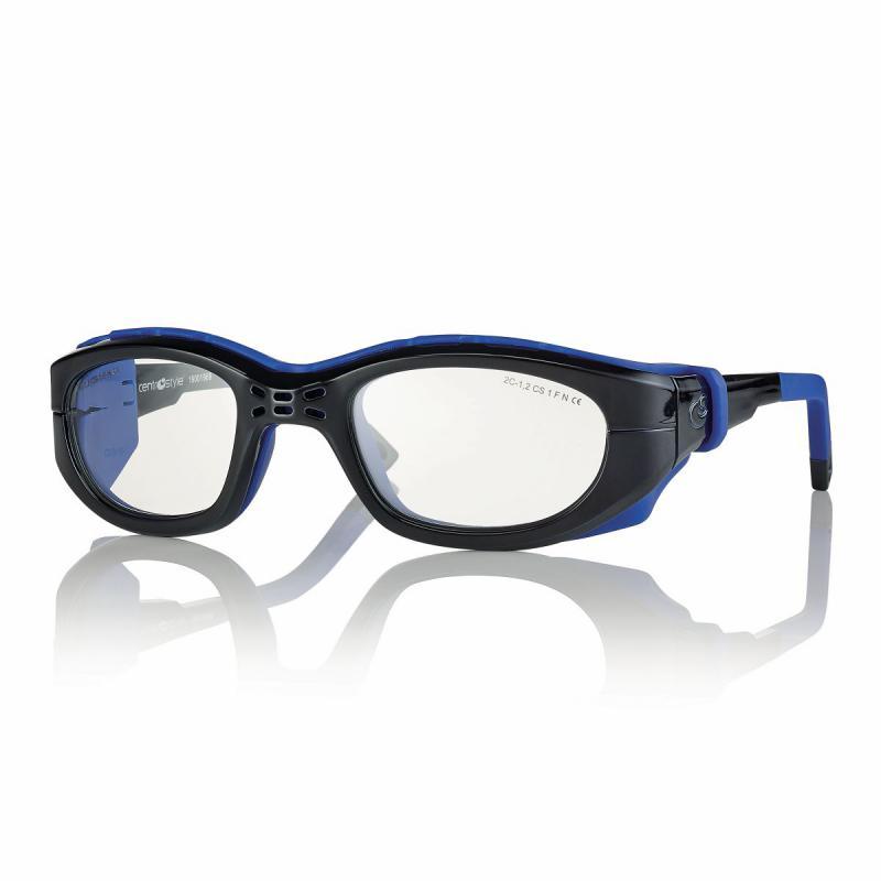 02F025747242000-Óculos Proteção Esporte Banda Elástica e Haste 47x23 Preto/Azul Mod 025747 FLAG E - Contém 1 Peça  - ENTREGA IMEDIATA