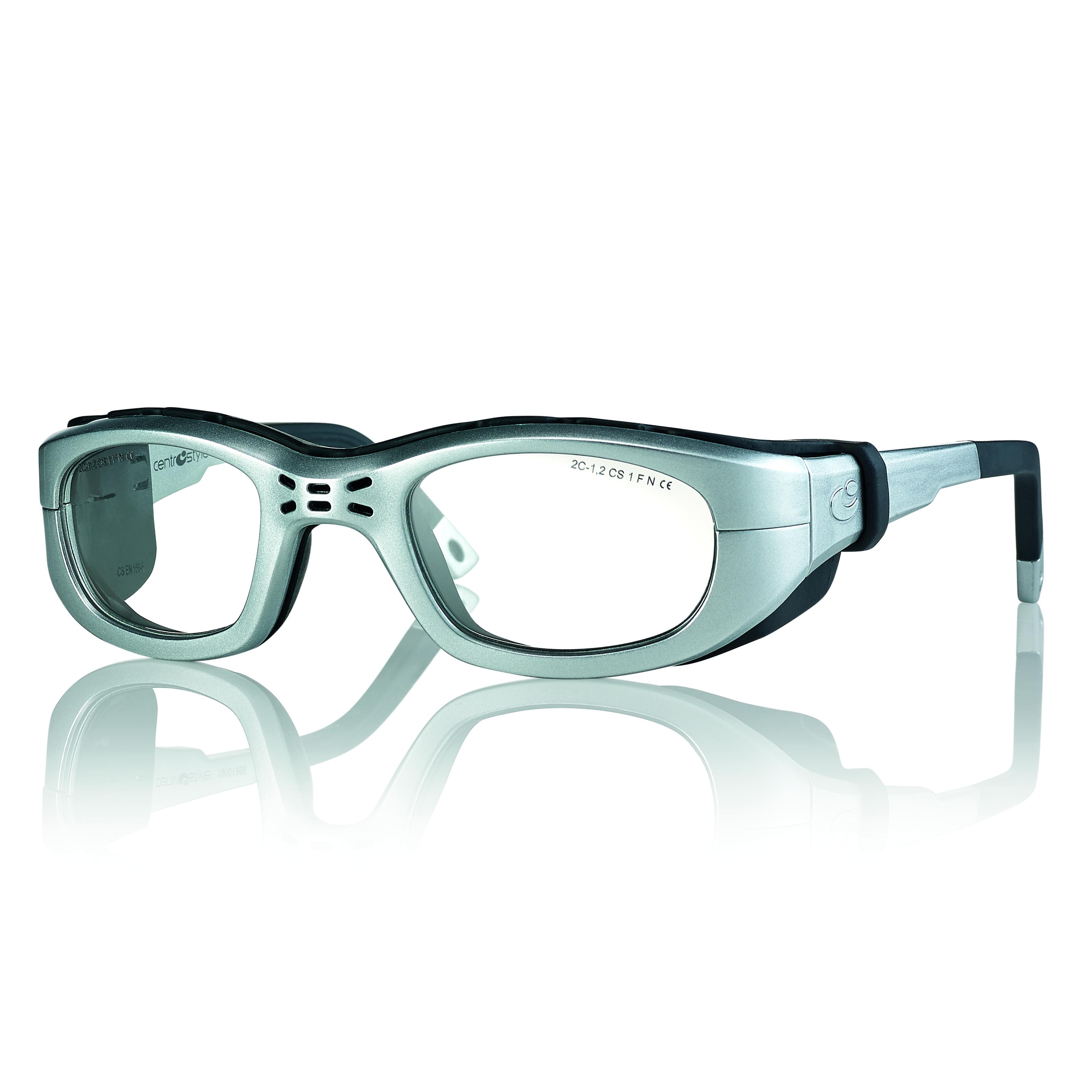 02F025747288000-Óculos Proteção Esporte Banda Elástica e Haste 47x23 Prata/Preto Mod 025747 FLAG E - Contém 1 Peça  - ENTREGA IMEDIATA