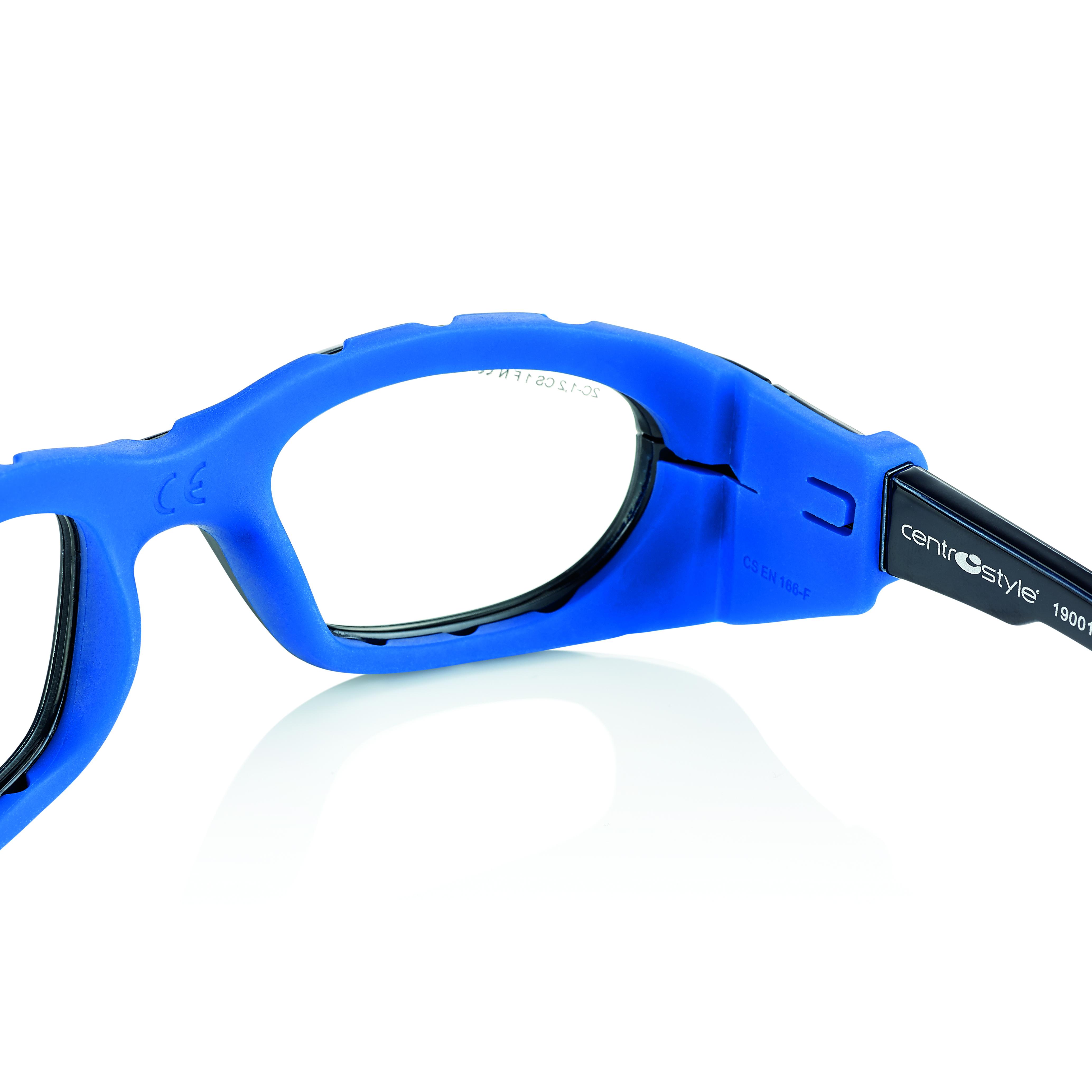 02F025749242000-Óculos Proteção Esporte Banda Elástica e Haste 49x23 Preto/Azul Mod 025747 FLAG E - Contém 1 Peça  - ENTREGA IMEDIATA