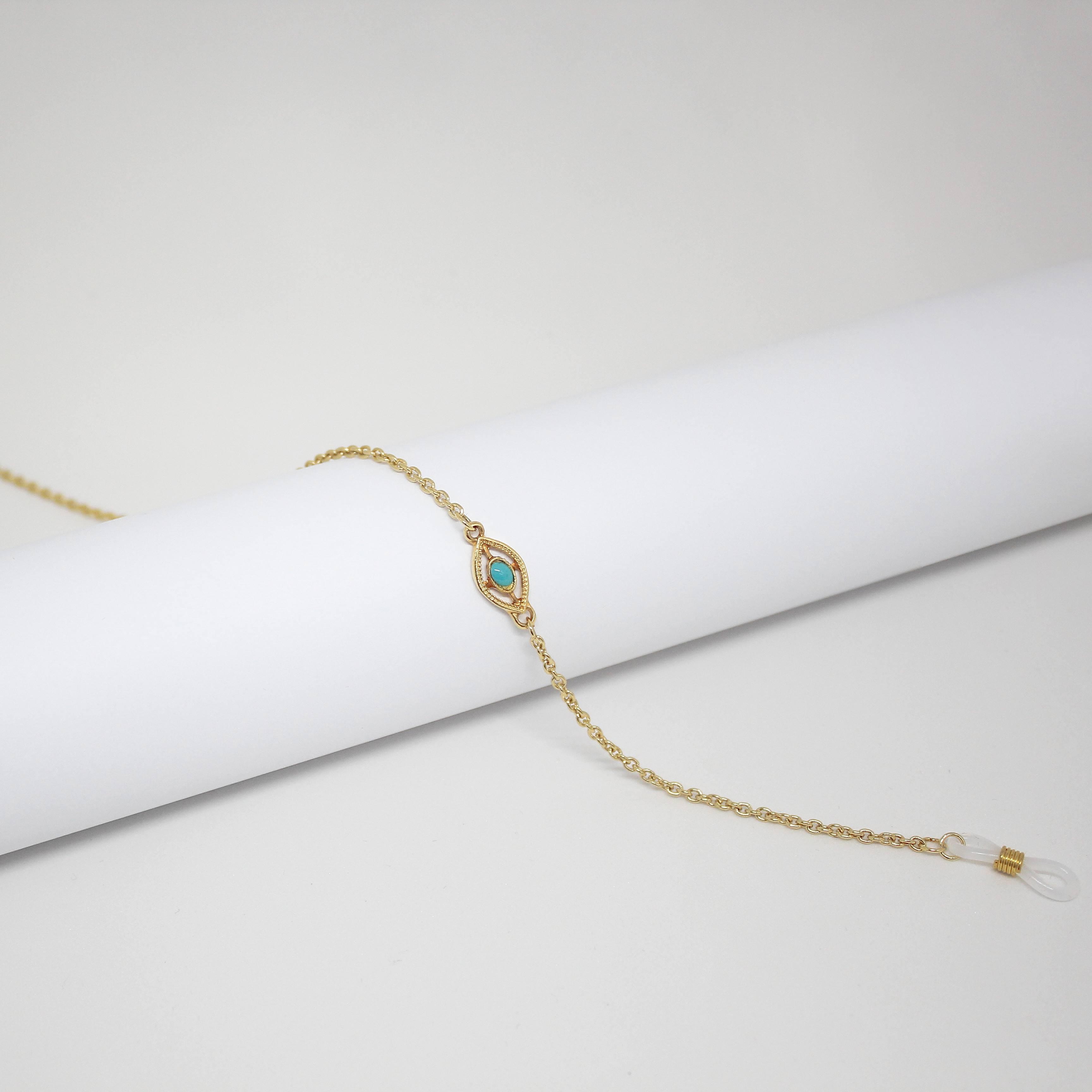 16161171 - Corrente Cadeada Ouro/Olho Egipcio Azul - Contém 3 Peças
