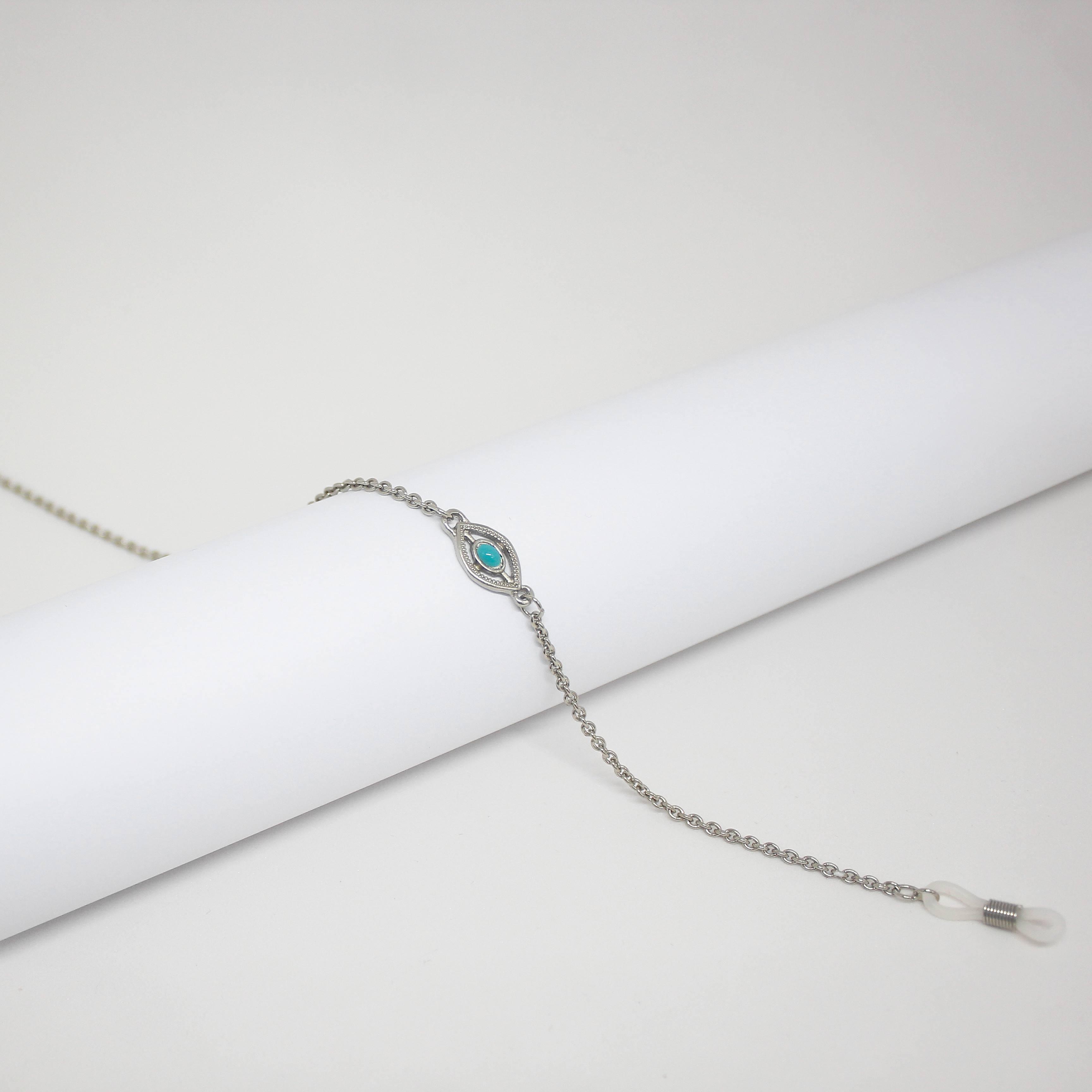 16161175 - Corrente Cadeada Niquel/Olho Egipcio Azul - Contém 3 Peças