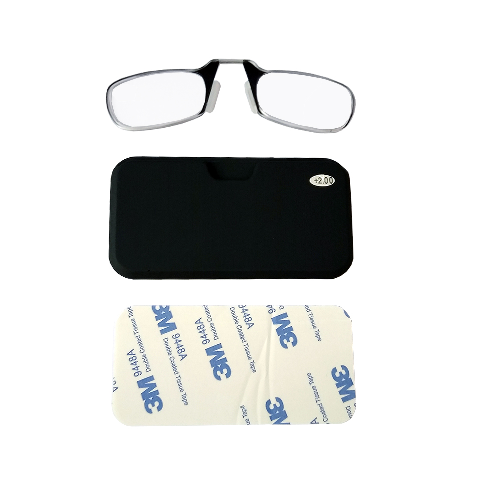 2604001 - Óculos Leitura Sem Hastes Preto +2,00 - Contém 1 Peça