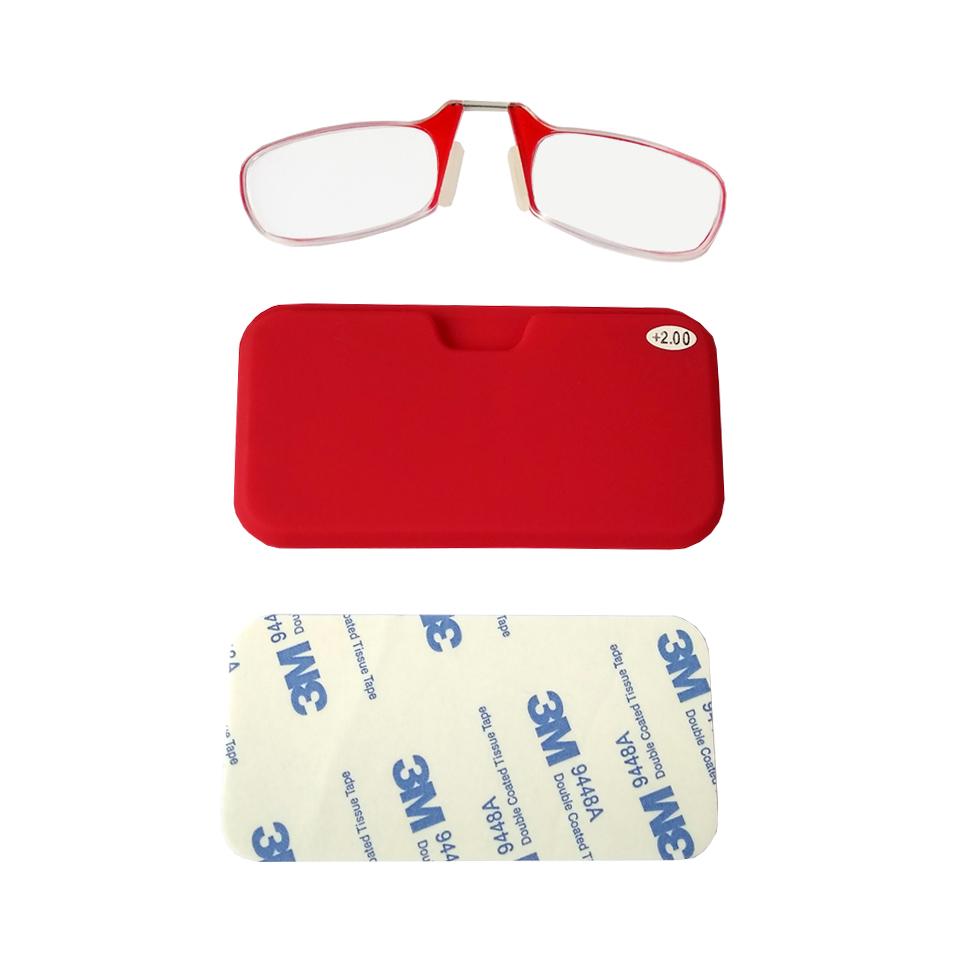 2604004 - Óculos Leitura Sem Hastes Vermelho +2,00 - Contém 1 Peça