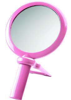 4420105 - Espelho Mão Suporte Dupla Face Rosa Mod 20324 FLAG 9 - Contém 1 Peça